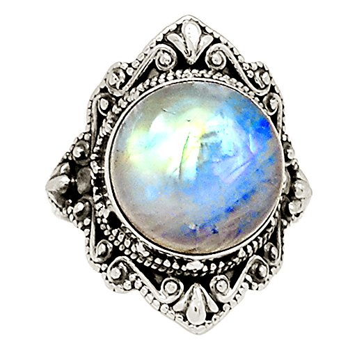 Xtremegems Rainbow Moonstone 925 Sterling Silver Ring Jewelry Size 9 (Moonstone Titanium Earrings)