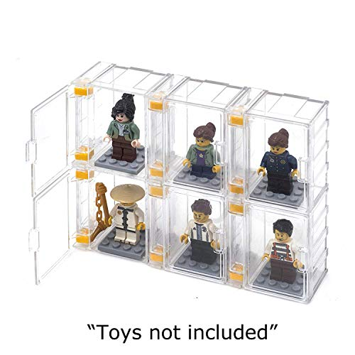 FIGUREBLOCK Lego Minifigure Display Case (6 Cases + 6 Plates) - DIY Disignable Buildable Customizable Make Building Assembly - Character People Man Storage Organize Box