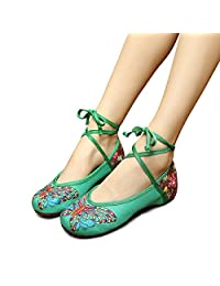 Veowalk Butterfly Embroidered Women's Cotton Flat Shoes Lace up Ladies Casual Comfort Canvas Ballets