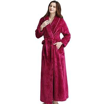 Pijamas Coral Fleece para Mujer Batas de baño de Franela largas Albornoz (Color : Red, Tamaño : XL): Amazon.es: Hogar