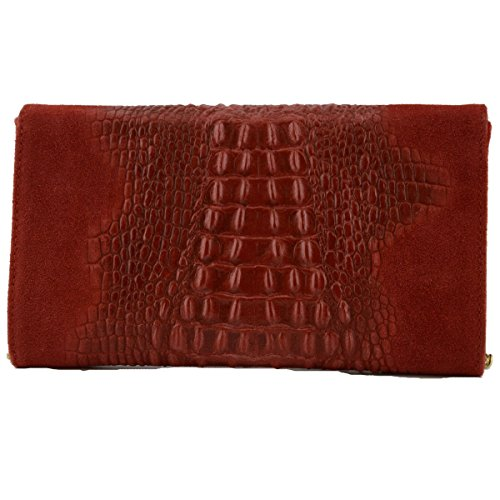 Bag Woman Leather Red In Leather Woman Color Tuscan Genuine Made Printed Clutch Italy Crocodile nSCaxwwFqZ