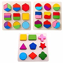 Wooden Toys Montessori Color Math Shapes Geometric Puzzles,5.9inches by Zerowin
