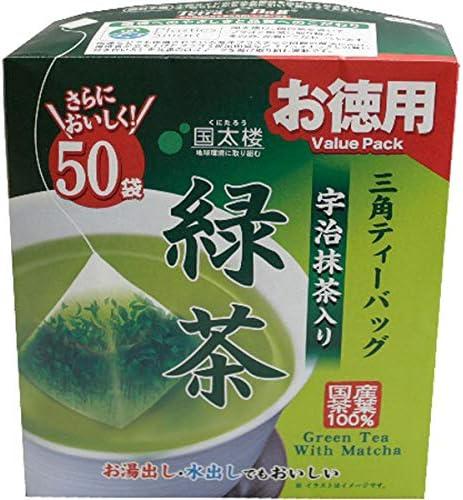 国太楼 50Pお徳用宇治抹茶入り緑茶三角ティーバッグ 2g×50p×6個入り (1ケース)