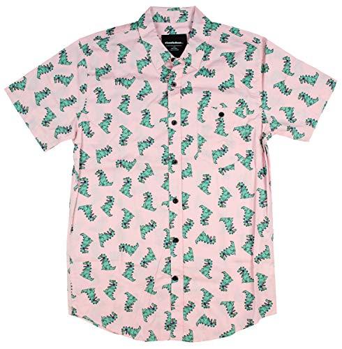 Nickelodeon Mens' Rugrats Reptar Dinosaur Character Button-Down Shirt (Small) Pink