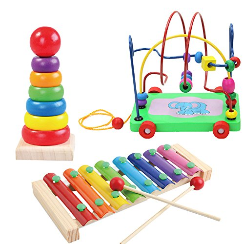 YCbingo Kids Educational Toy Set Beads Trailer Toy / Wooden Musical Instrument Toy / Rainbow Tower Ring Toy Kid Baby Best Gift ()