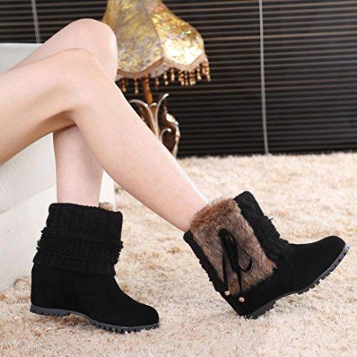 Kaicran Mode Femmes Hiver Peluche Bottes Martin Chaussures Chaud Cheville Bottes De Neige Noir