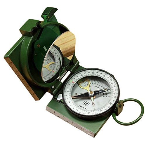 Meanhoo Magnetic navigation Baseplate Compass Multifunction Military Brass Army Metal Sighting High Accuracy Waterproof Camping Emergency for Hiking Camping Night Fishing 2.552.551.02inch