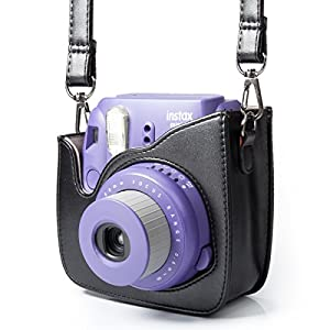 Woodmin Compatible Groovy PU Leather Camera Case with Shoulder Strap for Fujifilm Instax Mini 9 8 8+ Camera (Black)