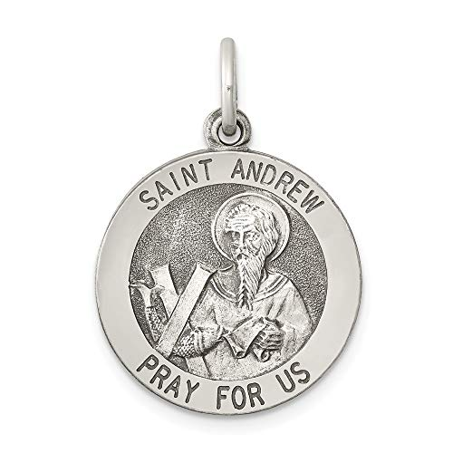925 Sterling Silver Saint Andrew Medal Pendant Charm Necklace Religious Patron St Fine Jewelry Gifts For Women For Her