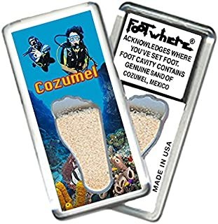 product image for Cozumel FootWhere Magnet (CZ202 - Divers).Authentic Destination Souvenir acknowledging Where You've Set Foot. Genuine Soil of Featured Location encased Inside Foot Cavity. Made in USA.