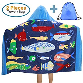 100% Cotton Kids Hooded Beach Bath Towel and Bag Set for Girls Boys Ocean Fishes Pattern 4-14 Years