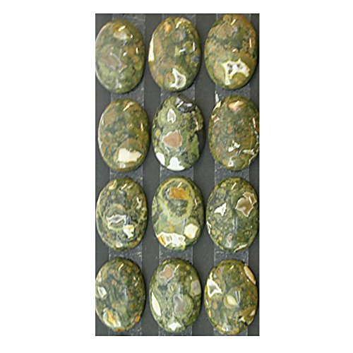 Rhyolite (Rainforest Jasper) 18x25mm Oval Calibrated Cabochons for Jewelry Making (pkg of 3 stones), (Rhyolite Jasper Pendant)