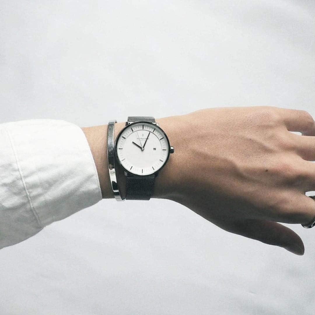 Nordgreen Philosopher Skandinavische Herrenuhr In Roségold Mit Weißem Ziffernblatt Und Austauschbarem 40mm Mesh Armband Roségold 10079 Uhren