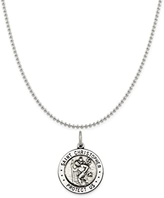 Silver st Christopher on long chain