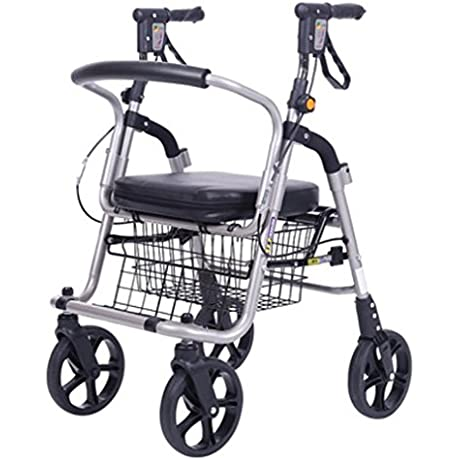 MXXYY Elderly Walker Wheelchair Lightweight Aluminum Alloy Folding 4 Wheel Shopping Trolley With Padded Seat Lockable Brakes And Carry Basket Small Black