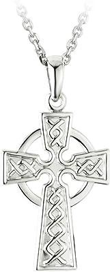 Solvar Celtic Cross Pendant for Men Irish Sterling Silver Single Sided Necklace Made in Ireland