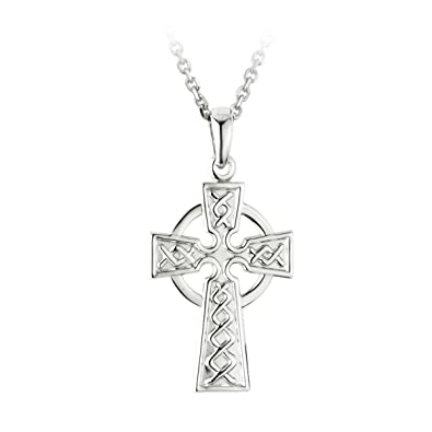 9f6886d59c3 Failte Celtic Cross Necklace for Men Sterling Silver 2 Sided Made in  Ireland | Amazon.com
