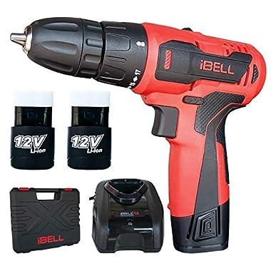 iBELL Cordless Drill Driver CD12-74, 12-Volts, 2 Battery+BMC Box 8