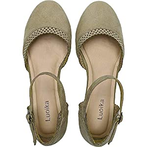 Luoika Women's Wide Width Flat Sandals - Flexible Buckle Strap Mary Jane Cozy Summer Shoes.
