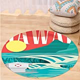VROSELV Custom carpetHawaiian Decorations Hawaii Sandy Coastline Sunny Day Surfboard Tropics Famous Honeymoon Destination Bedroom Living Room Dorm Decor Sand Teal Round 79 inches