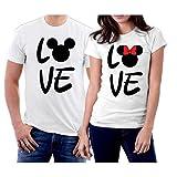 Matching Love MM Couple T-Shirts Men XXL/Women XL White
