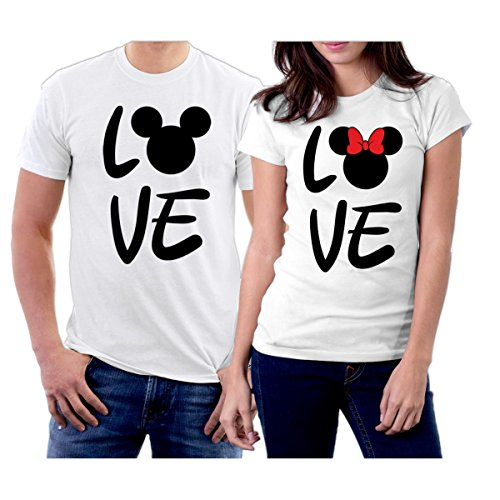 (Matching Love MM Couple T-Shirts Men S/Women XS White)