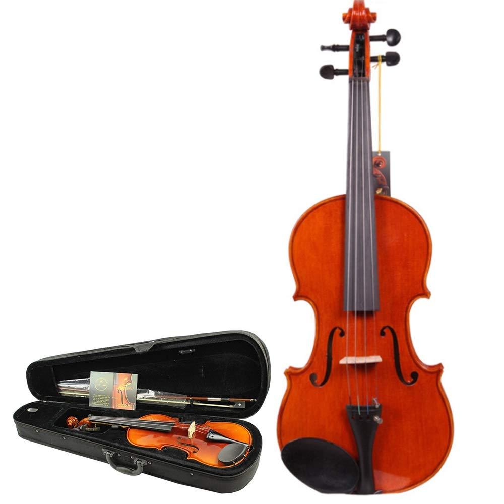 ハードケースナチュラルソリッドスプルースウッドフィドルキット楽器4弦と手作りの高光沢仕上げアコースティックバイオリン学生初心者4 / 4、3 / 4、1 / 2、1 / 4のための弓ロジンクリーン布 楽器 (色 : Wood, サイズ : 1/2) 43467 Wood B07T5Z9CC3