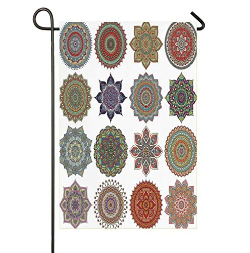 Collection of Ethnic Oriental Lotus Mandala Pattern Art Garden Flag Double Sided,House Yard Decoration, Outdoor Décor Flag 12 x 18 Spring Summer ()