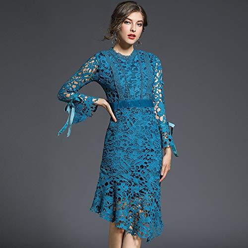 - QUNLIANYI Femme Longue bleu Water Soluble Lace Dress Ladies Long Flare Sleeve Hollow Out Asymmetric Slim Mermaid Bodycon Robe S