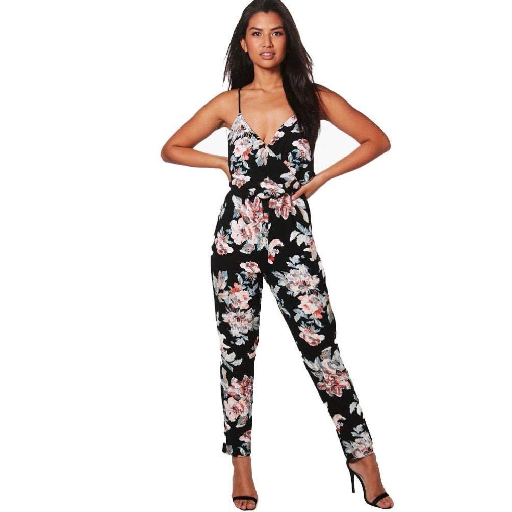 15487cdd8c9 Qiusa Sarouel Floral Jumpsuit Salopettes Femmes Dames