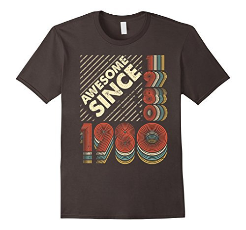 Mens Awesome Since 1980 Vintage Retro 37th Birthday 37 Years Old XL - Fashion Retro 1980's