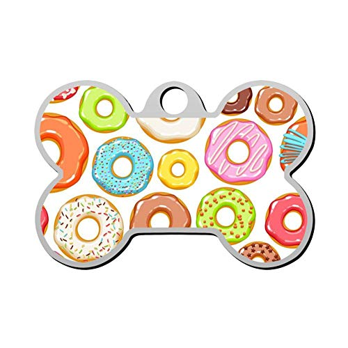 Name Donut - GPZHM Customized Donut Pet Tag - Bone Shaped Dog Tag & Cat Tags Pet ID Tag Personalized Custom Your Pet's Name & Number 3D Printing
