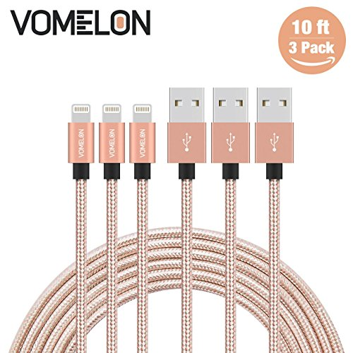 Lightning Cable, 3Pack 10FT Nylon Braided Extra Long Tangle-Free Cord Lightning Cable Certified to USB iPhone Charger for iPhone 7/7 Plus/6S/6 Plus, SE/5S/5, iPad, iPod Nano 7-[Golden+Silver]
