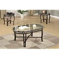 3-Pcs Table Set w/Glass Table Top and Dark Bronze Finished Metal Base by Poundex