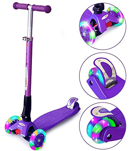 ChromeWheels Scooters for Kids, Deluxe Kick Scooter 4 Adjustable Height 150lb Weight Limit 3 Wheel, Lean to Steer LED Light Up Wheels, Best Gifts for Girls Boys Age 6-12 Year Old, Purple