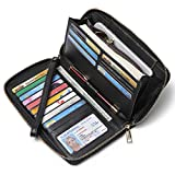 Women Wallets Leather Bifold Ladies Clutch Zip Around Card Holder with Wristlet