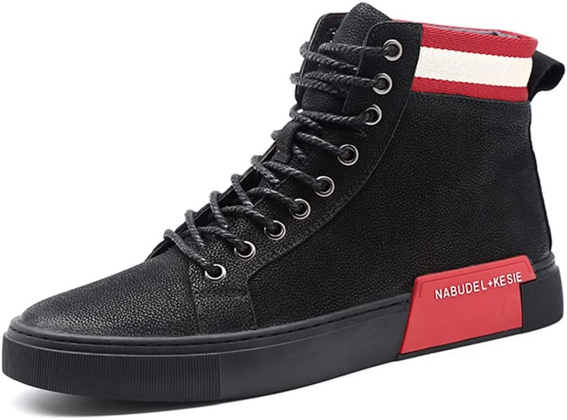 SXELODIE Fashion Mens Martin Boots Leather Comfortable Lace-up Casual Sneakers Shoes