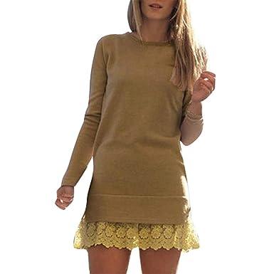 00c1a4696447d6 Damen Partykleid Langarm Vintage Slim Fit Pulloverkleid Spitze Patchwork  Minikleid Resplend Freizeit Rundhals Lange Ärmel Kleid