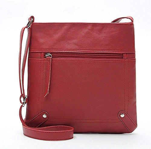 Ecokaki(TM) Women's PU Leather Fashion Handbag Shoulder Bag Functional Multi Pocket Crossbody Bag, Maroon by Ecokaki