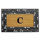 Nedia Home Wrought Iron Rubber Coir Mat, 30 by 48'', Monogrammed C, Olive Border