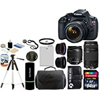 Canon EOS Rebel T5 Digital Camera SLR Kit With Canon EF-S 18-55mm IS II + Canon 75-300mm III Lens + 64 GB Card and Reader + Camera and Lens Case + Spare Battery Pack + 2 58mm UV Filters + Wide Angle Lens (58mm) + Telephoto Lens (58mm) + Tripod + Digital Camera Cleaning Kit + Accessory Kit Overview Review Image