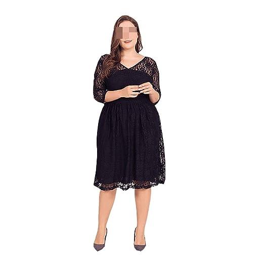 Vestido, Falda de Encaje Negro Gran tamaño del Gancho Flor Hueco ...