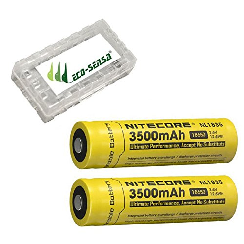 2x Nitecore NL1835 3500mAh 18650 -3.6V Protected Lithium Ion Button Top Battery w/Eco-Sensa Battery Case