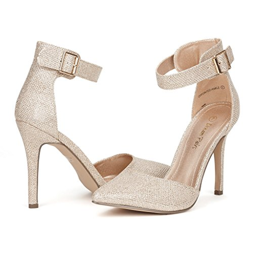 DREAM PAIRS OPPOINTED-ANKLE Women's Pointed Toe Ankle Strap D'Orsay High Heel Stiletto Pumps Shoes,10 B(M) US,GOLD GLITTER