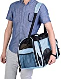 Large Dog Pet Carrier, [Airline-Approved]-Tetrahedral Mesh Ventilative Tote Outdoor Portable Bag for Dogs, Cats and Puppies (Blue)