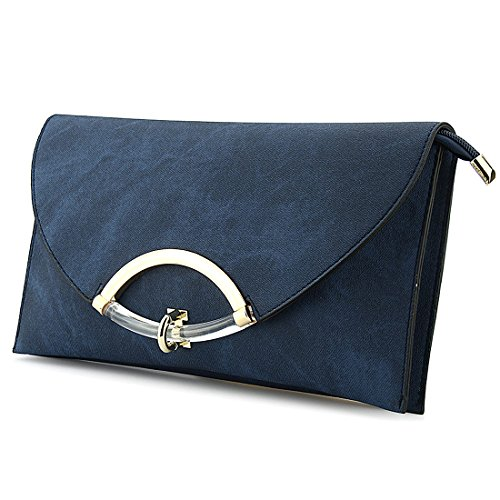 for Leather Clutch Handbag Evening Soft Purse Casual Envelope Blue Bag Designer EROUGE Purplish Crossbody Women Fq0URR