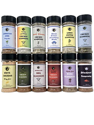 Ultimate   Chicken Lover's   Wing and Chicken Seasoning Dry Rub Variety or Gift Pack   12 Count   Crafted in Small Batches with Farm Fresh Spices for Premium Flavor and Zest