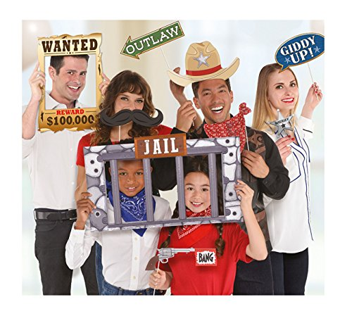 Amscan 399427 Party Supplies Giant Yeehaw Western Photo Booth Props 12ct, 17 x 14.3, Multicolor -