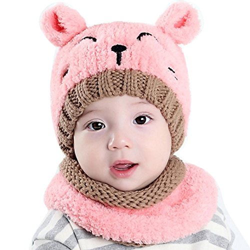 Adorable Baby Boy Girls Warm Knit Bear Hat and Scarf Toddler Winter Crochet Beanie Cap Set (Pink)
