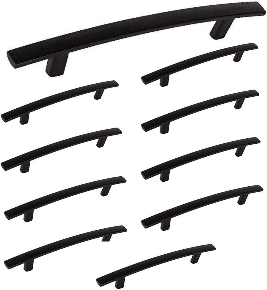 "Aviano - 10 Pack Modern Curved Subtle Arch Handle Pull (5"" Hole Center, Matte Black)"